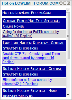 What's Hot on the Low Limit Poker Forum